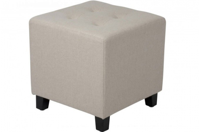 pouf capitonn en lin beige poufs petits tabourets pas cher. Black Bedroom Furniture Sets. Home Design Ideas