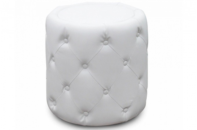 pouf rond capitonn blanc viky poufs petits tabourets pas cher. Black Bedroom Furniture Sets. Home Design Ideas