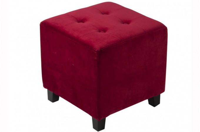 pouf velours capitonn rouge poufs petits tabourets. Black Bedroom Furniture Sets. Home Design Ideas
