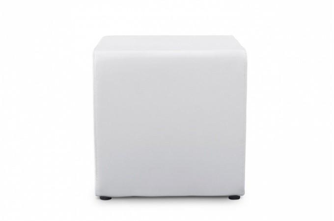 tabouret cube blanc en simili cuir athos poufs petits tabourets pas cher. Black Bedroom Furniture Sets. Home Design Ideas