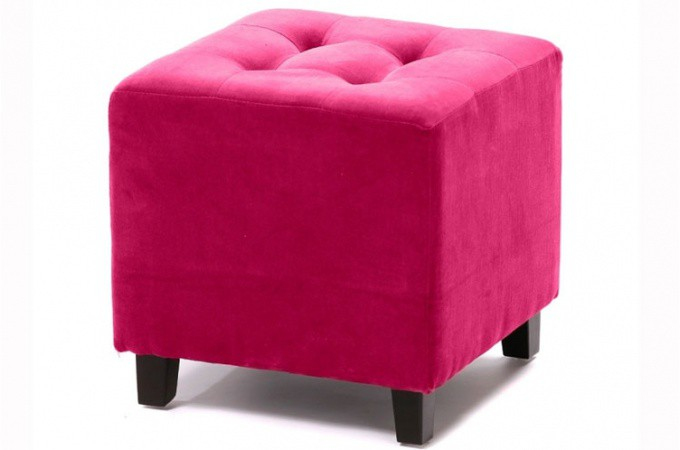 pouf velours capitonn fushia poufs petits tabourets. Black Bedroom Furniture Sets. Home Design Ideas