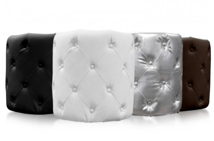 pouf rond capitonn noir viky poufs petits tabourets pas cher. Black Bedroom Furniture Sets. Home Design Ideas