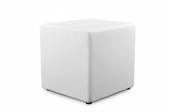 tabouret cube blanc en simili cuir athos poufs petits tabourets pas cher. Black Bedroom Furniture Sets. Home Design Ideas