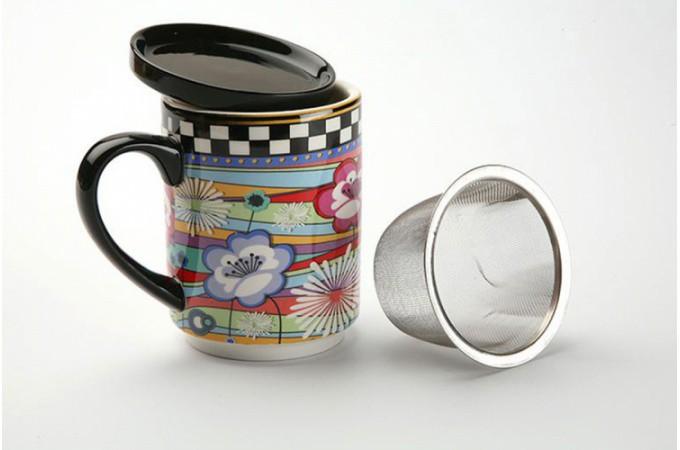 tasse infuser filtre motif fleurs accessoires pas cher. Black Bedroom Furniture Sets. Home Design Ideas