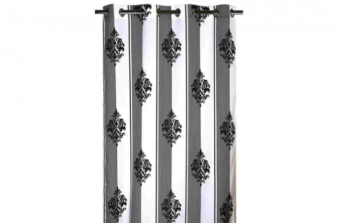rideau oeillet imprim noir chambordi 140 x 260 cm rideaux pas cher. Black Bedroom Furniture Sets. Home Design Ideas