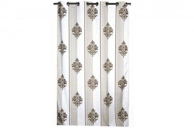 rideau oeillet imprim taupe chambordi 140 x 260 cm rideaux pas cher. Black Bedroom Furniture Sets. Home Design Ideas