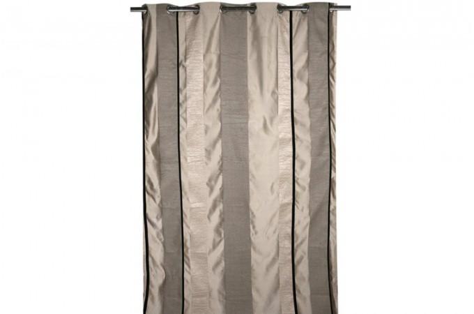 rideau oeillet jacquard gris bostina 140 x 260 cm rideaux pas cher. Black Bedroom Furniture Sets. Home Design Ideas