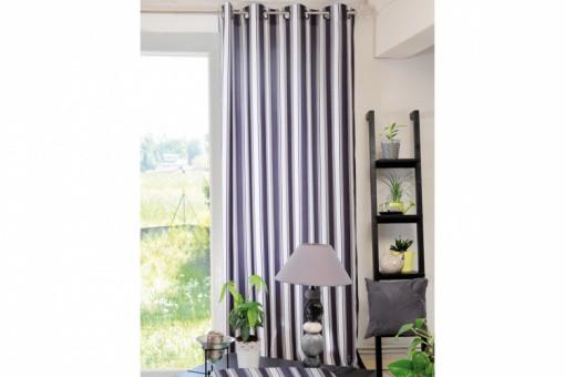 rideau en polyester noir oeillets mary 135x260 cm rideaux pas cher. Black Bedroom Furniture Sets. Home Design Ideas