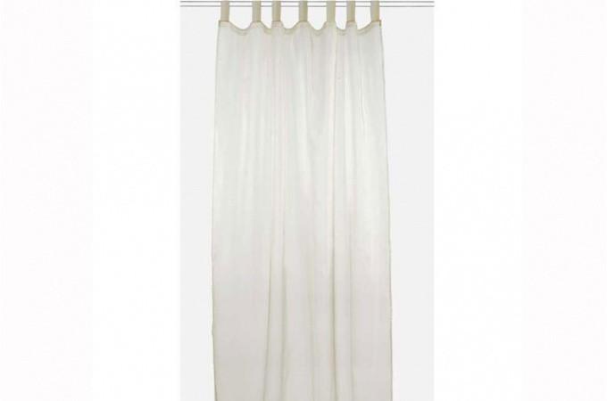 Voilage beige brillant 140x250 cm rideaux pas cher declik deco for Voilage deco