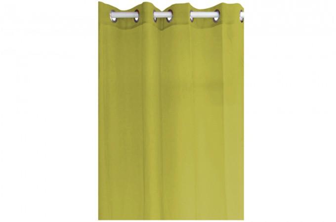 Voilage en polyester vert anis 135 x 240 cm rideaux pas cher for Rideaux voilage couleur