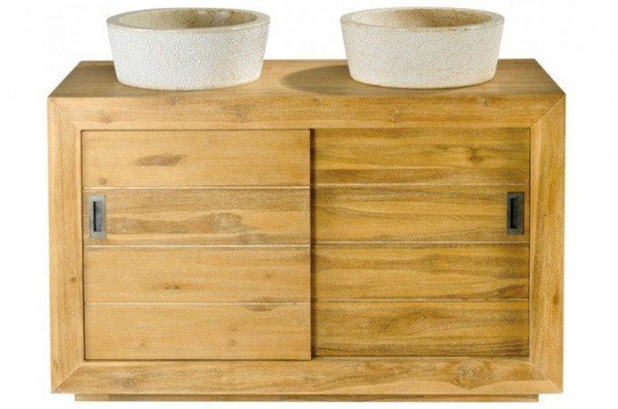 Deco salle de bain miroir panier linge vasque design for Meuble de salle de bain en teck pas cher