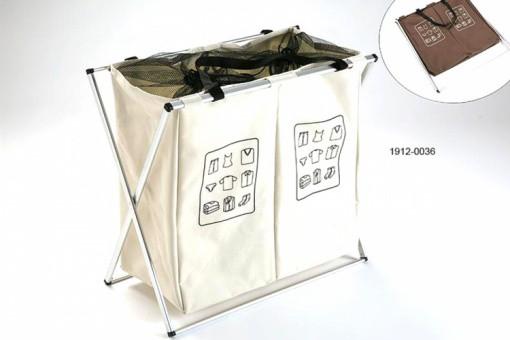 panier linge double beige paniers linge pas cher. Black Bedroom Furniture Sets. Home Design Ideas