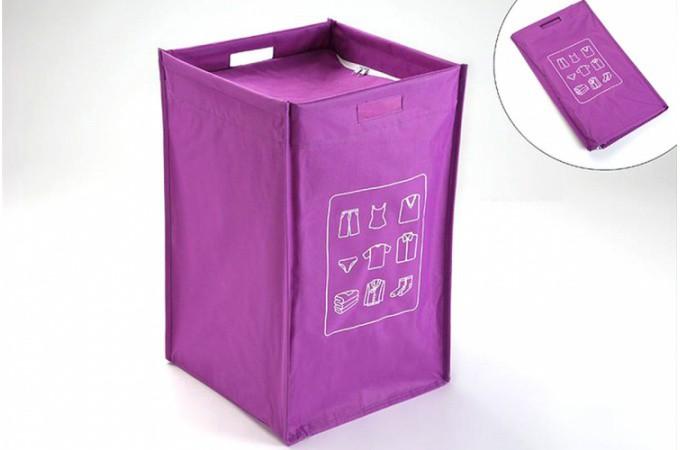 Panier linge pliable couvercle violet declikdeco - Panier a linge avec couvercle ...