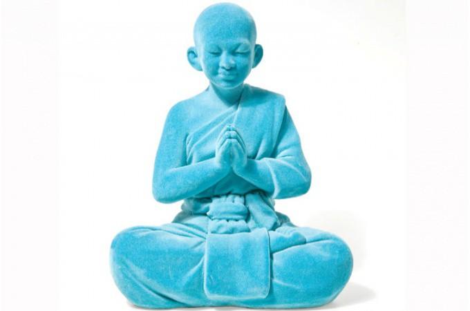 Moine thailandais velours turquoise statues d co pas cher for Objet deco turquoise