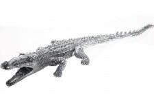 Statue Kare Design Déco Crocodile Argentée, deco design