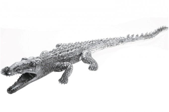 statue d co crocodile argent e statues d co pas cher. Black Bedroom Furniture Sets. Home Design Ideas