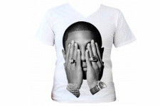 T-Shirt Blanc destroy Pop Pharell Bling Bling T.S - Cadeau homme design
