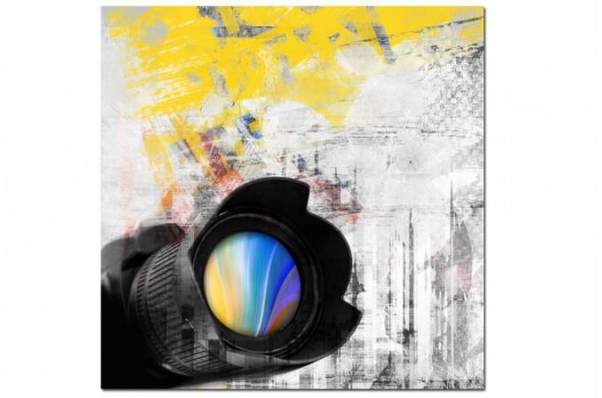 Declikdeco  Tableau abstrait ton jaune Photographe 50x50cm