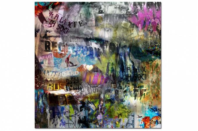 Tableau abstrait multicolore my life 60x60 cm tableaux abstraits pas cher - Tableau colore pas cher ...