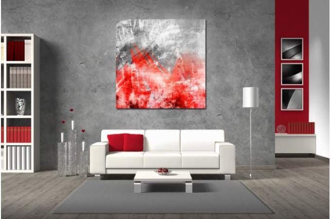 Tableau Abstrait Ton Rouge Phoenix 80X80 cm Plus d\'infos
