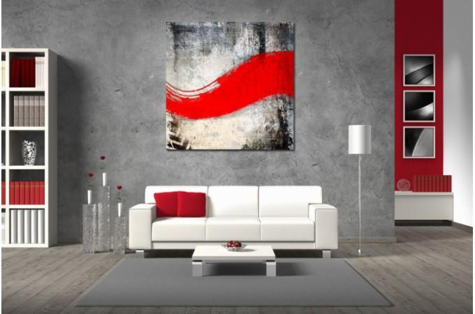Tableau Abstrait Rouge Maescha 60X60 cm - Tableaux Abstraits Pas Cher