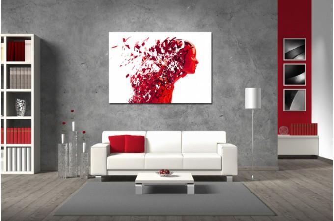 Tableau abstrait rouge femme destructur e 80x55 cm for Tableau art contemporain design decoration