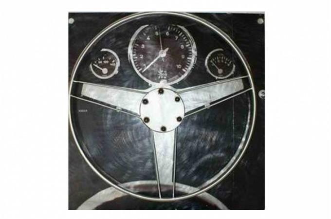 Declikdeco  Plaque en fer course automobile Miglia 50x50 cm