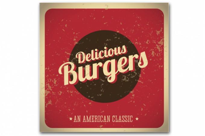 tableau vintage plaque burger rouge 50x50 cm tableaux. Black Bedroom Furniture Sets. Home Design Ideas