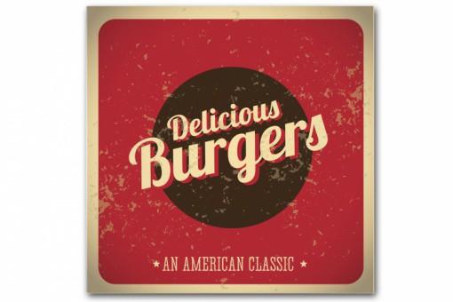 tableau vintage plaque burger rouge 60x60 cm tableaux atelier aviator pas cher. Black Bedroom Furniture Sets. Home Design Ideas
