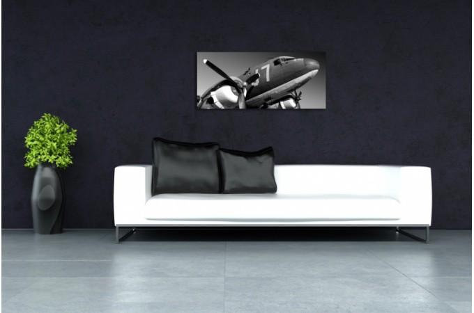 Tableau panoramique avion army 90 x 30 cm ebay - Tableau avion noir et blanc ...