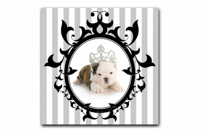 tableau baroque chien princesse encadr 50x50 cm tableaux animaux pas cher. Black Bedroom Furniture Sets. Home Design Ideas