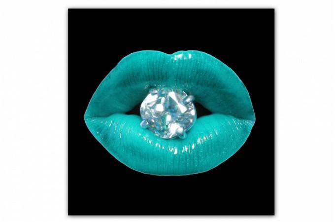 Tableau pop bouche diams bleu turquoise 60x60 cm for Objet deco bleu turquoise