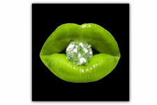Tableau Pop Bouche Diams Vert Anis 80X80 cm - Deco pop art design