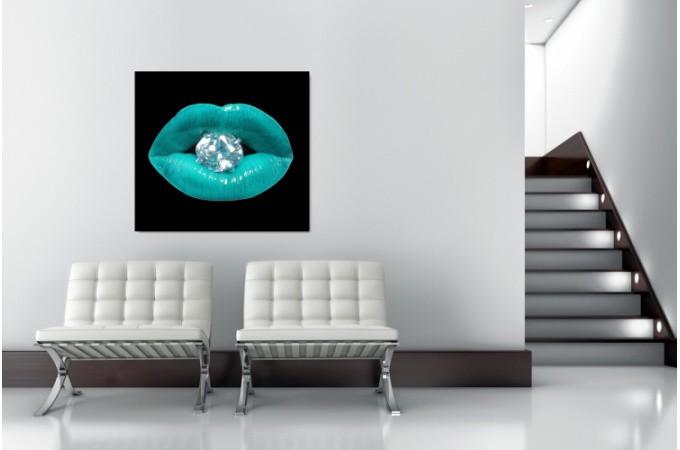 Tableau pop bouche diams bleu turquoise 60x60 cm tableaux bouches pas cher - Tableau bleu turquoise ...