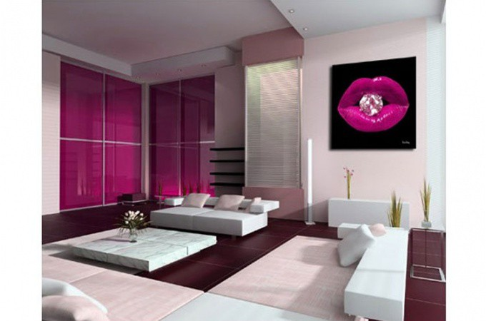 Tableau pop bouche diams fushia 50x50cm tableaux bouches - Accessoire salle de bain rose fushia ...