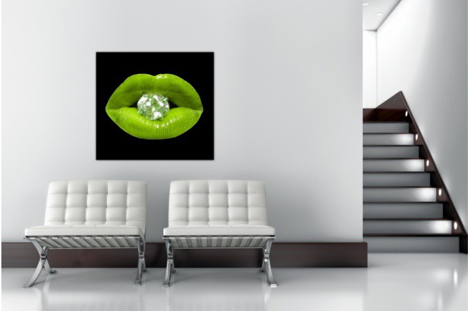 Tableau pop bouche diams vert anis 80x80 cm tableaux - Tableau vert anis ...
