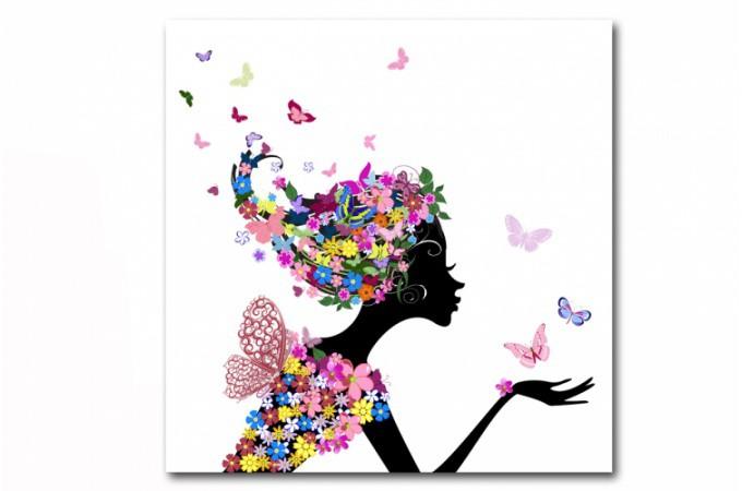 Tableau enfant f e des fleurs 80x80 cm tableaux enfants for Envoie de fleurs pas cher