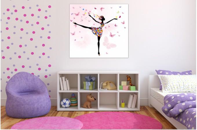 tableau enfant f e danseuse 60x60 cm tableaux enfants pas cher. Black Bedroom Furniture Sets. Home Design Ideas
