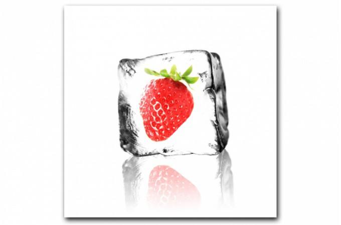 Tableau gourmand fraise glac e 50x50 cm tableaux for Glace murale decorative