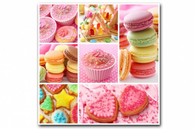Tableau gourmand multicolore cupcakes 80x80 cm tableaux for Tableau cuisine pas cher