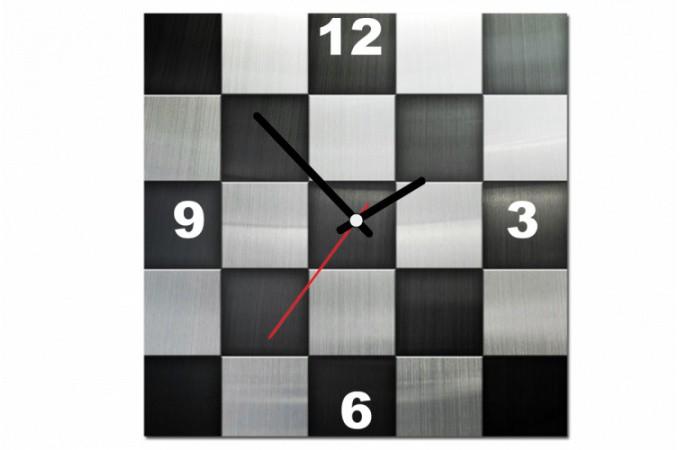 Tableau horloge en damier noir et argent x cm with horloge - Grande horloge murale design pas cher ...