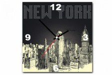 Tableau Horloge New York By Night 30X30 cm - Horloge design