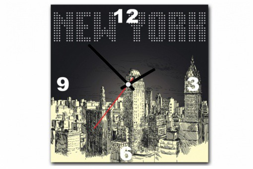 Tableau Horloge New York By Night 30X30 cm