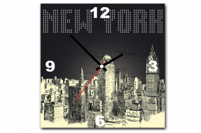 tableau horloge new york by night 30x30 cm horloges design pas cher. Black Bedroom Furniture Sets. Home Design Ideas