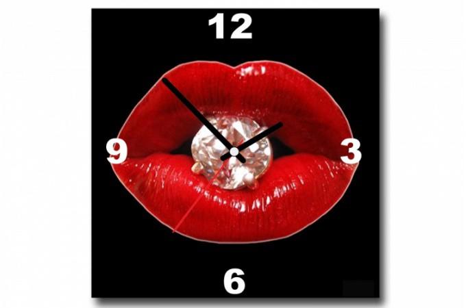 tableau horloge pop bouche diams 30x30 cm horloges design pas cher. Black Bedroom Furniture Sets. Home Design Ideas