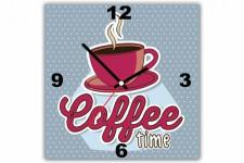 Tableau Horloge Rétro Coffee Time 30X30 cm, deco design
