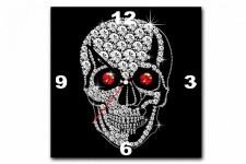 Horloge Design Tableau Horloge Rock'N'Roll Tete de Mort Strass 30X30 cm, deco design