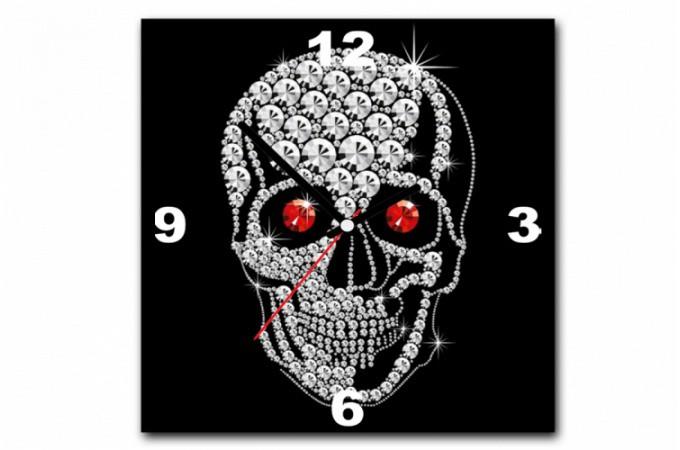 Tableau horloge rock 39 n 39 roll tete de mort strass 30x30 cm - Tableau tete de mort castorama ...