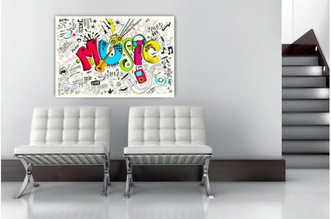 Tableau musique graphitis color s 80x55 cm tableaux - Tableau mural design pas cher ...