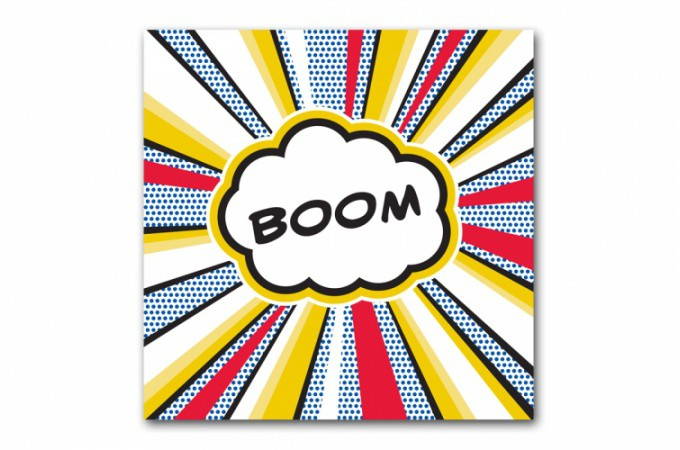 Declikdeco  Tableau pop art Boom explosif 80x80 cm